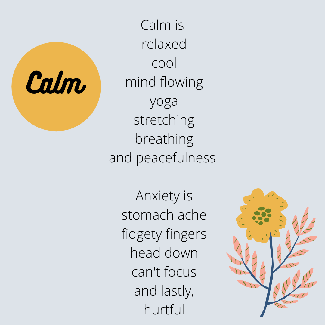 A student's poem inspired by her OLW: CALM
